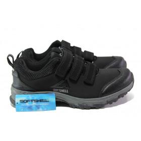 Дамски маратонки - висококачествен текстилен материал - черни - EO-12897