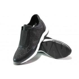 Дамски спортни обувки - еко-кожа с текстил - черни - EO-12966