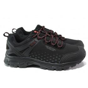 Мъжки маратонки - висококачествен текстилен материал - черни - EO-13136