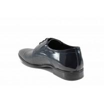Елегантни мъжки обувки - естествена кожа-лак - тъмносин - EO-12129