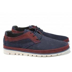 Мъжки обувки - естествен набук - тъмносин - EO-12127