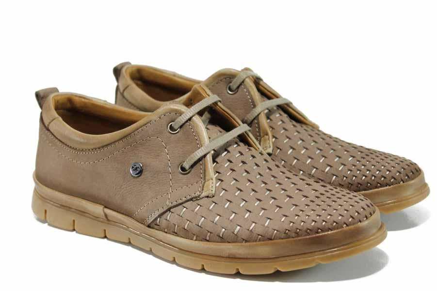 Мъжки обувки - естествен набук - кафяви - EO-12125