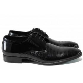 Мъжки обувки - естествена кожа-лак - черни - EO-12169