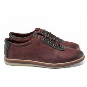 Мъжки обувки - естествена кожа - бордо - EO-12165