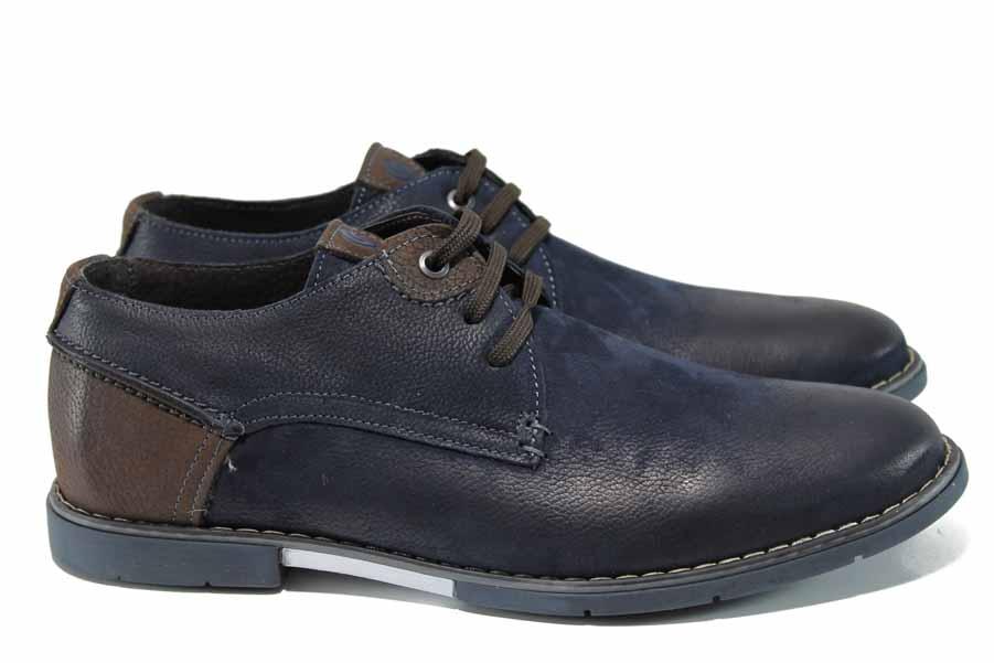 Мъжки обувки - естествена кожа - сини - EO-12333