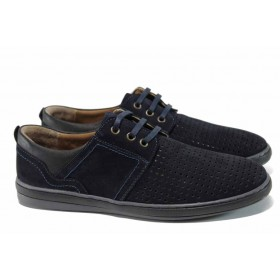 Мъжки обувки - естествен набук - тъмносин - EO-12450