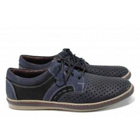 Мъжки обувки - естествена кожа - тъмносин - EO-12451