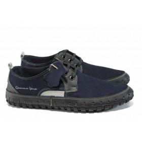 Мъжки обувки - естествен набук - тъмносин - EO-12481