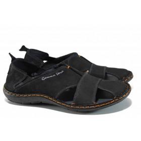 Мъжки сандали - естествен набук - черни - EO-12483