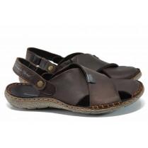 Мъжки сандали - естествена кожа - кафяви - EO-12639