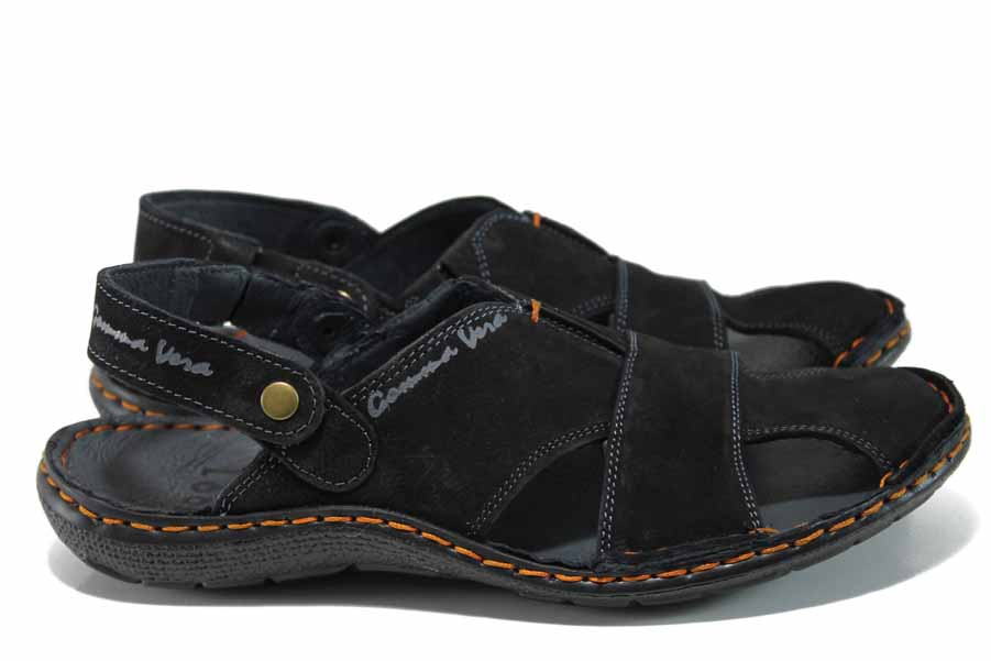 Мъжки сандали - естествен набук - черни - EO-12636