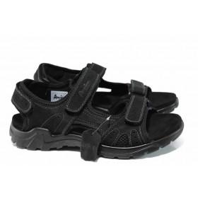 Мъжки сандали - естествен набук - черни - EO-12683