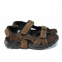 Мъжки сандали - естествен набук - кафяви - EO-12682