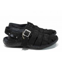 Мъжки сандали - естествен набук - черни - EO-12779