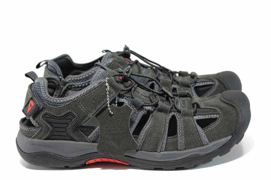 Мъжки обувки - естествена кожа - сиви - EO-12777