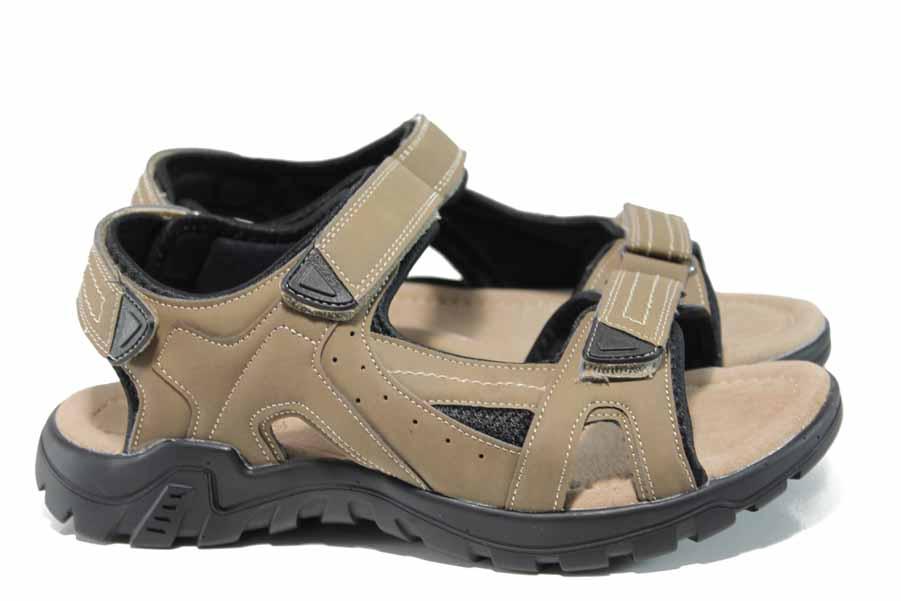 Мъжки сандали - висококачествена еко-кожа - бежови - EO-12776