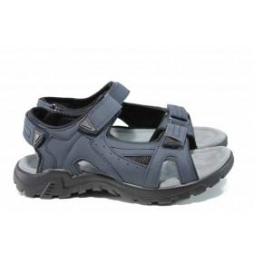 Мъжки сандали - висококачествена еко-кожа - сини - EO-12775