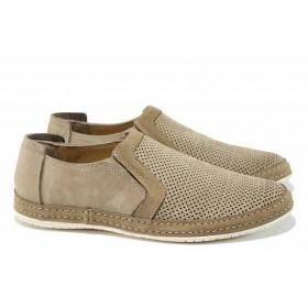 Мъжки обувки - естествен набук - бежови - EO-12805