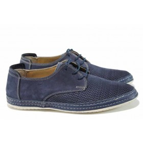 Мъжки обувки - естествен набук - сини - EO-12807