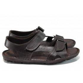 Мъжки сандали - висококачествена еко-кожа - кафяви - EO-12826