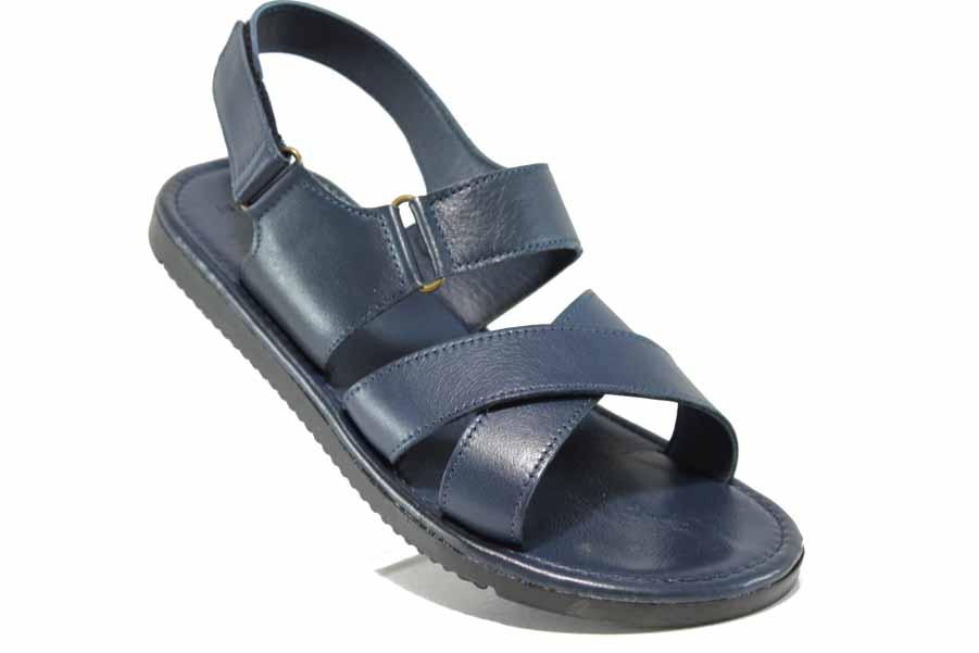 Мъжки сандали - естествена кожа - сини - EO-12824