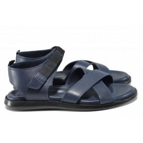 Мъжки сандали - естествена кожа - сини - EO-12823
