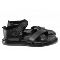 Мъжки сандали - естествена кожа - черни - EO-12822