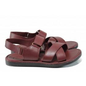 Мъжки сандали - естествена кожа - бордо - EO-12825