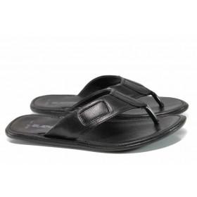 Мъжки чехли - естествена кожа - черни - EO-11004