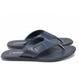 Мъжки чехли - естествена кожа - сини - EO-11006