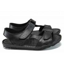 Мъжки сандали - висококачествена еко-кожа - черни - EO-12846