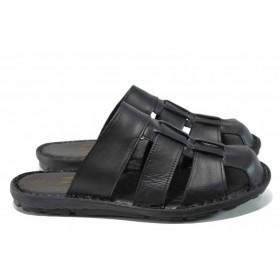 Мъжки чехли - естествена кожа - черни - EO-12847