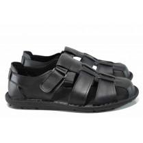 Мъжки сандали - висококачествена еко-кожа - черни - EO-12857