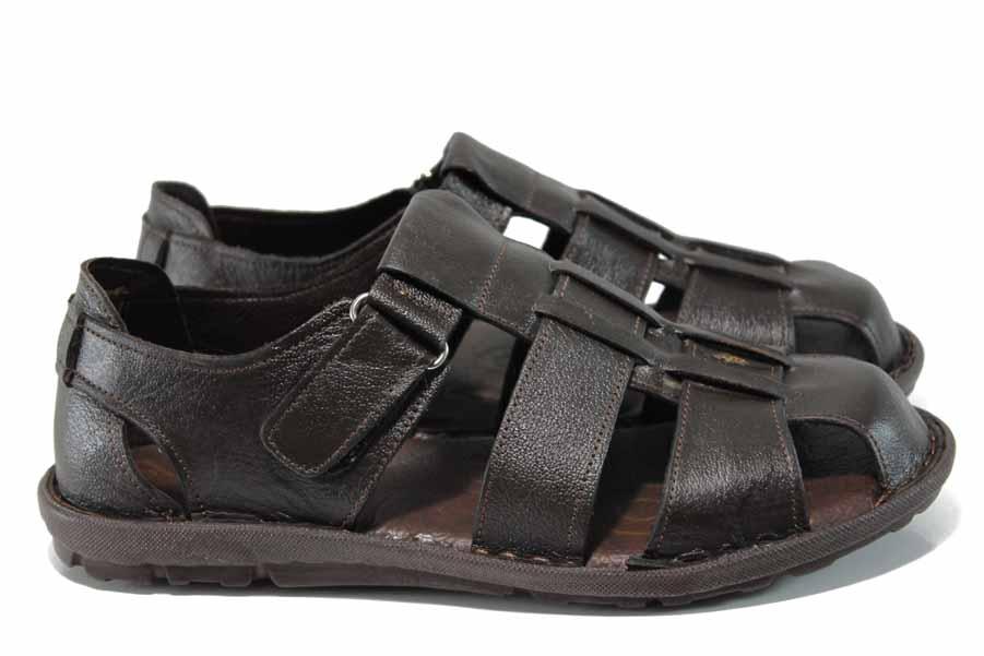 Мъжки сандали - висококачествена еко-кожа - кафяви - EO-12856