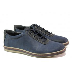 Мъжки обувки - естествена кожа - тъмносин - EO-12956