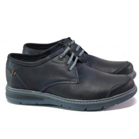Мъжки обувки - естествена кожа - тъмносин - EO-13009
