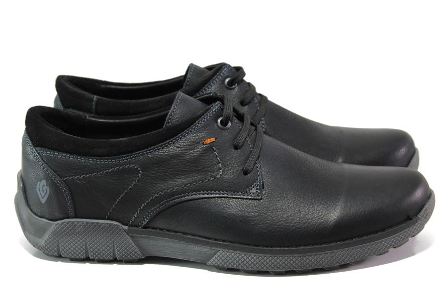 Мъжки обувки - естествена кожа - черни - EO-13003