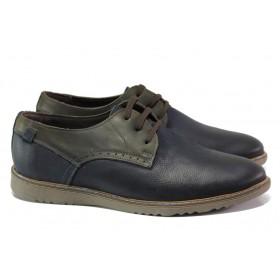 Мъжки обувки - естествен набук - тъмносин - EO-13004
