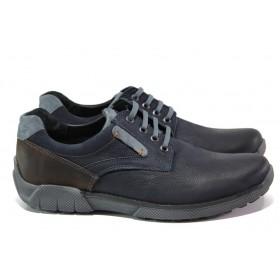 Мъжки обувки - естествен набук - тъмносин - EO-13002