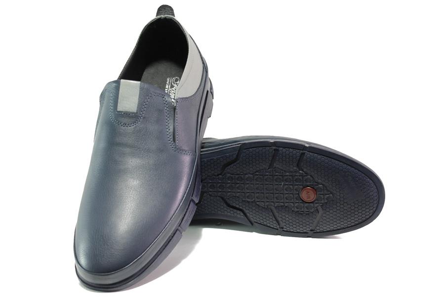 Мъжки обувки - естествена кожа - тъмносин - EO-13030