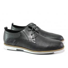 Мъжки обувки - естествена кожа - черни - EO-13078