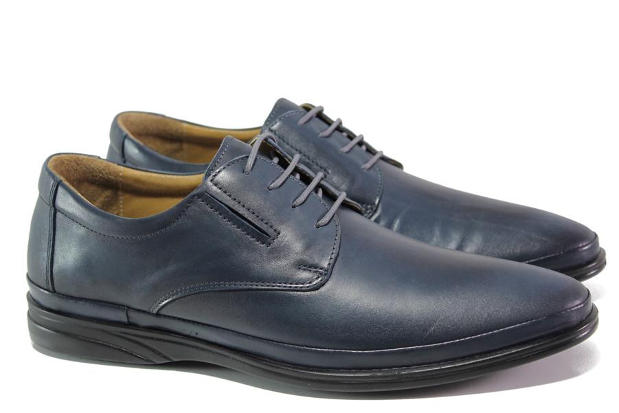 Мъжки обувки - естествена кожа - сини - EO-13075