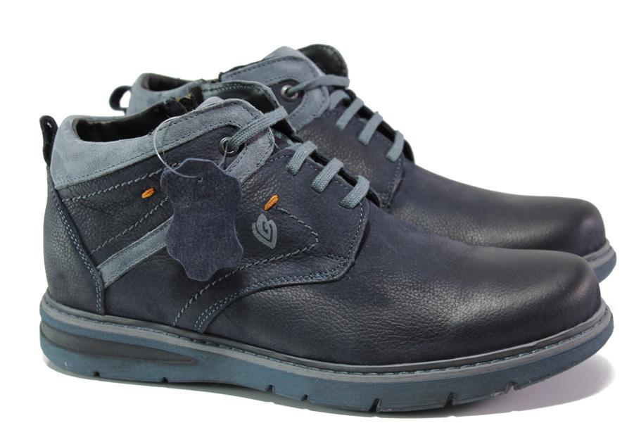 Мъжки боти - естествена кожа - сини - EO-13102