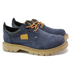 Мъжки обувки - естествен набук - сини - EO-13193