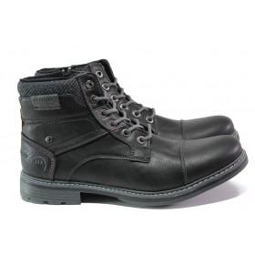 Мъжки боти - висококачествена еко-кожа - черни - EO-13280