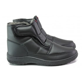 Мъжки боти - висококачествена еко-кожа - черни - EO-7795