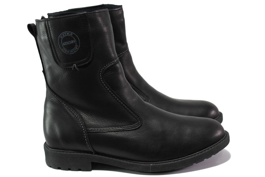 Мъжки боти - естествена кожа - черни - EO-13458