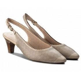 Дамски обувки на среден ток - естествена кожа - бежови - EO-12021