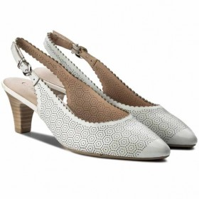 Дамски обувки на среден ток - естествена кожа - бели - EO-12022
