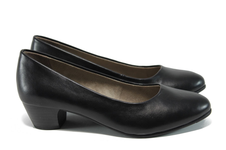 Дамски обувки на среден ток - висококачествена еко-кожа - черни - EO-12025